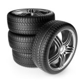 Tire-with-metal-wheel.-3D-Icon-isolated-on-white-background